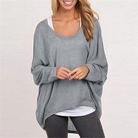 Loose T-shirt women's causal long sleeves pullover shirts