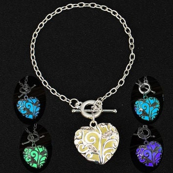 Turquoise Glow In the Dark Fluorescent Bracelet Charm Crystal Heart Pendant Bracelets & Bangles For Women Christmas Gift Jewelry -03130