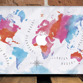 MacBook Air 13 Case MacBook Pro Retina 15 Case MacBook Cover MacBook Pro 13 Case Travel Gift MacBook Pro 15 Cover Colourful New World Map