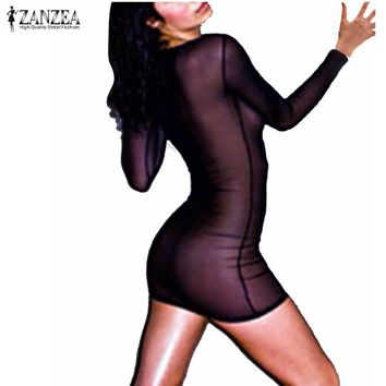 Sexy Transporant Mesh Mini Dress 2017 ZANZEA Women Casual O Neck Long Sleeve Slim Fit Bodysuit Solid Dress Vestidos