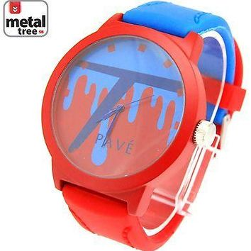 Jewelry Kay style New Men's Hip Hop Fashion Watch Red Blue Silicone Band Watch/7467 RD+BL