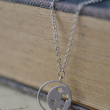 Dainty Moon And Stars Necklace, Bohemian Necklace, Gypsy Jewelry, Delicate Moon Necklace, Constellation Necklace