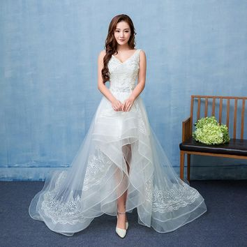 Short Long Back Wedding Dress 2018 New Real Photo Strapless Sweet TulleBeach Bridal Gown Lace Bead