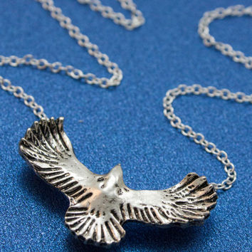Soaring Eagle Necklace on a Silver Plated Chain - Patriotic Jewelry, Air Force Jewelry
