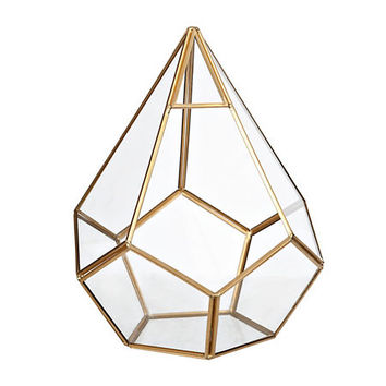 Gold Teardrop Geometric Terrarium