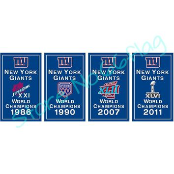 NY Giants 30X45cm 60X90cm 90x150cm 100% Polyester digital printing CUATOM New York Giants World CHAMPIONS banner