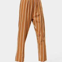 Elastic Waist Stripes Straight Pants