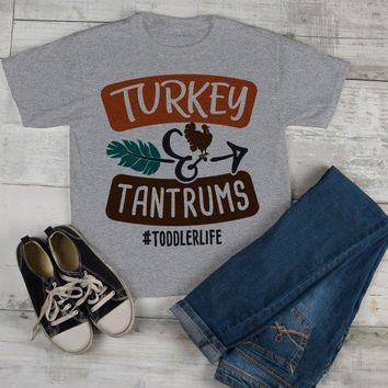 Funny Toddler Thanksgiving T Shirt Turkey & Tantrums Tee #Toddlerlife Shirts