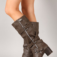 Bamboo Quentin-05 Buckle Zipper Round Toe Knee High Boot