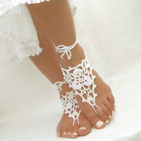 White barefoot sandals Beach wedding anklets