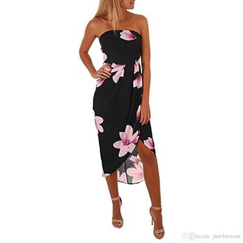 Sexy Women Casual Floral Printed Chiffon Dresses Female Strapless Backless Mini Dressess Summer Clothing