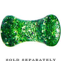 6 Gauge Green Ultra Glitter Saddle Plug | Body Candy Body Jewelry