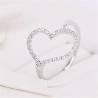 MP Micropave Setting of AAA Quality White Clear CZ Stones Heart Shape Pave Slim Arm Ring Silver Color 18K Gold Plated Gift for Her Promise Ring Engagement Ring Anniversary Ring US 5 ADP 0704