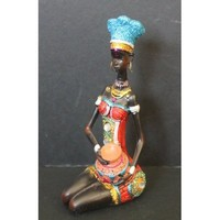 """African Tribal Lady with Water Basket 7"""" Figurine in Colorful Dress"""