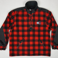 Vintage Tommy Hilfiger 90s Red Buffalo Plaid Fleece Jacket