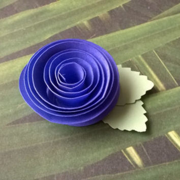 indigo rose boutonniere groomsman pin back groom paper flower lapel brooch bridal party bridal shower wedding reception family favors