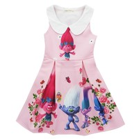 2017 Children Girl Dress Trolls Cartoon Summer Dress Costumes For Girls Party Kids Dresses Kids Girls Dress H802