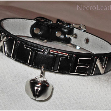 Customizable Kitten Bell Collar - Faux Leather Collar with Metal Lettering