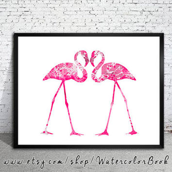 Love Flamingos Watercolor Print,  Archival Fine Art Print, Children's Wall Art, Home Decor, animal watercolor, flamingo painting, bird art