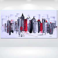 "Original Modern Abstract Painting Acrylic Canvas Wall Art Contemporary black white red gift Fine Art 48 x 24""  by  Ettis Gallery"