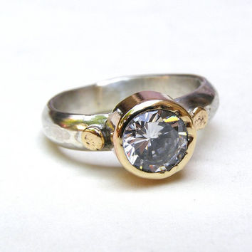 Engagement ring  14k gold ring silver  White Topaz by OritNaar
