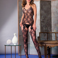 Bow Lace Suspender Body Stocking