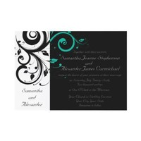 Black White Aqua Swirl Wedding Invitations from Zazzle.com