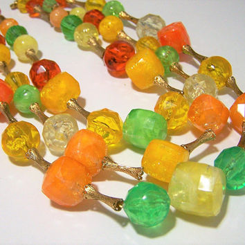 Lucite Multi Color Bead Necklace, Yellow Orange Lime Multi Strand Faceted Beads Mid Century Vintage Beaded Jewelry, Costume Jewellery 917