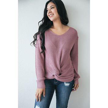 Sienna Lilac Knotted Knit Pullover