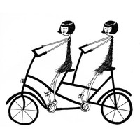 Best Friends on a bicycle // 4x6 art print // BFF tandem bike illustration