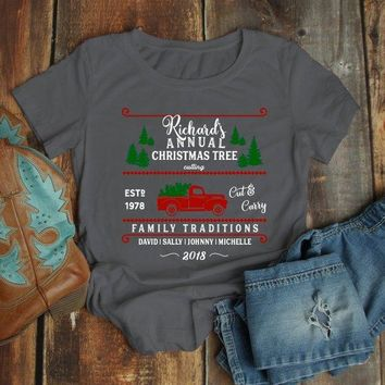 Women's Personalized Christmas T Shirt Christmas Tree Shirts Cutting Cut Family Matching Shirts