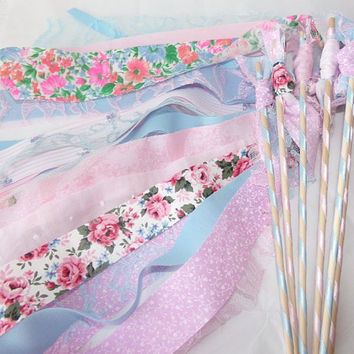 175 Streamer Wands, Wedding Send Off, Fabric Lace & Ribbon Wands, Large Event Bulk Party Favors with Bell Option