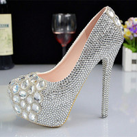 Silver embellished crystal high heels fashion party shoes pumps
