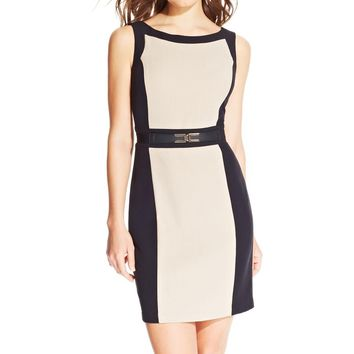BCX Womens Juniors Colorblock Sleeveless Wear to Work Dress