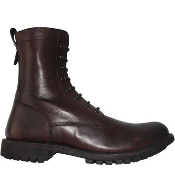 Kixters Spencer - Antique Dark Brown Leather Combat Boot