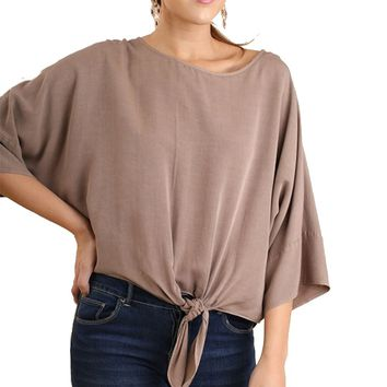 Umgee Mineral Washed Front Tie Dolman Top Latte