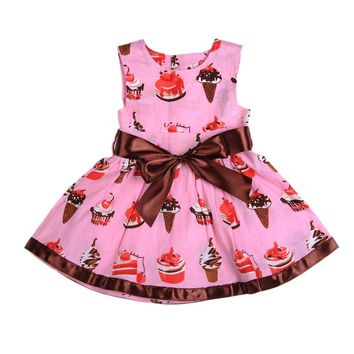 Baby Girl Dress Sleeveless Cute Cake Ice Cream Print Children Dress 0-24 Months Fashion Pink Soft Baby Climbing Clothes