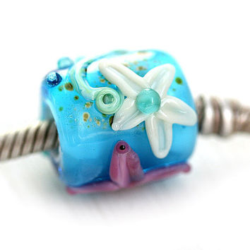 Aqua blue Large hole bead, Beach, starfish, lampwork - fits all European Charm Bracelets - SRA, by MayaHoney
