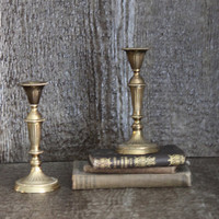 Vintage Country French Brass Candle Set Home Decor