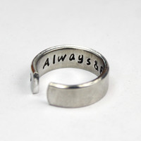 I Am Always With You Message Ring, Love Statement Ring, Friendship Ring Hand Stamped Aluminum Love Jewelry