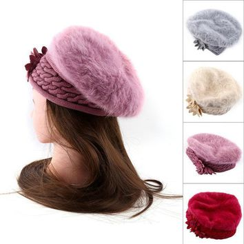 New 4colors Women Knitted Cap Beanie Crochet Faux Fur Casual Autumn Winter Warm Hat Beret Fashion