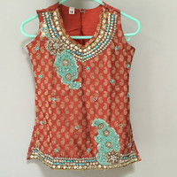 Beaded Girls Top, Pakistan Sleeveless Tunic Blouse, Kids Vintage Indian Top, Pakistani Blouse, Orange Paisley Turquoise Blue Beaded Top 4T