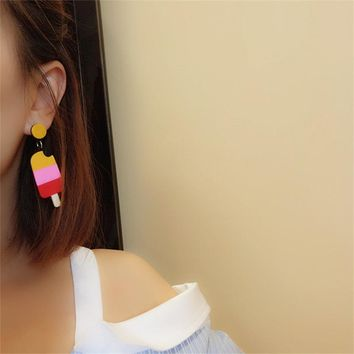 2018 Korean candy color cute fruit ice cream exaggerated earrings sweet acrylic food earrings for women fashion jewelry gifts