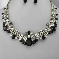 Art Deco Black Lucite and Rhinestone Collar Necklace