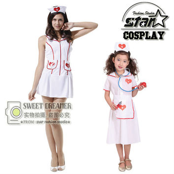 Mother Children Halloween Cosplay Matching Costume Kids Doctor Costume Nurse Uniform With Hat Family Mother Girls Dresses