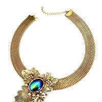 Statement Collar Necklace, Floriated Design Antiqued Gold Tone, Sliding Pendant, Iridescent Blue Center Stone, Book Chain, Show Stopper