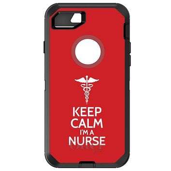 "DistinctInk™ OtterBox Defender Series Case for Apple iPhone or Samsung Galaxy - Red White ""Keep Calm Im a Nurse"""