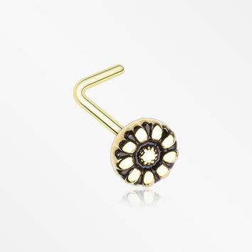 Golden Antique Daisy L-Shaped Nose Ring