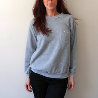 80's Super Thin Heather Grey Pullover Sweatshirt with Pocket