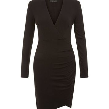 Black V Neck Ruched Wrap Front Midi Dress